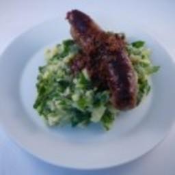Chard mash with sausage