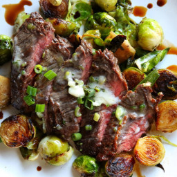 Steak and Brussels Sprouts with Scallion Butter
