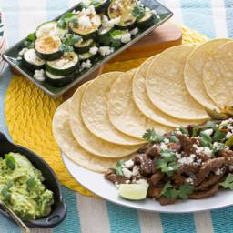 Steak Fajitaswith Guacamole and Roasted Zucchini Rounds