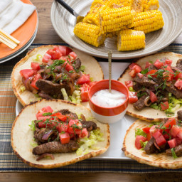 Steak Gyros and Corn on the Cob with Tzatziki Sauce and Spiced Butter