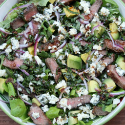 Steak salad with blue cheese, avocado and basil balsamic dressing