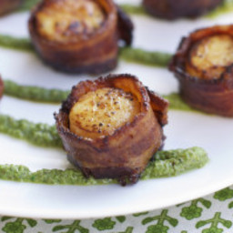 Steakhouse Bacon Wrapped Sea Scallops with Pecan Pesto