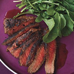 Steak with Mixed Peppercorns and Pomegranate Glaze