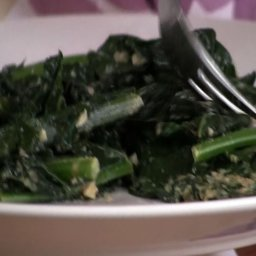 Steamed Greens with Walnut Parmesan