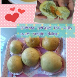 Steamed pandan bun with sweet potato filling (eggless, steam)