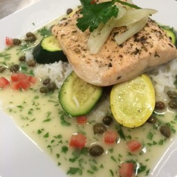 Steamed Salmon with Lemon Herb Vinaigrette and Capers