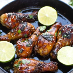 Sticky Honey Sriracha Chicken Drumsticks