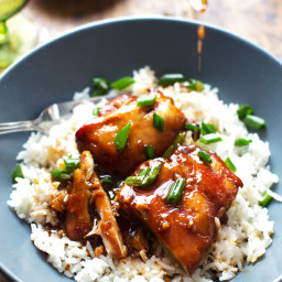 Sticky Bourbon Chicken with Rice