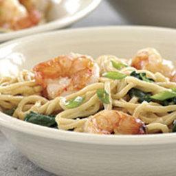 Stir-Fried Shrimp with Spinach and Peanut Noodles