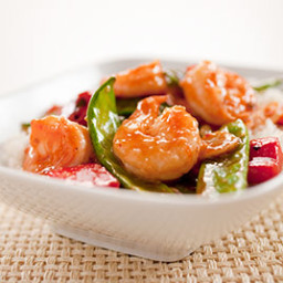 Stir-Fried Sichuan-Style Shrimp with Zucchini, Red Bell Pepper, and Peanuts
