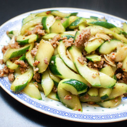Stir-Fried Cucumbers With Spicy Ground Pork