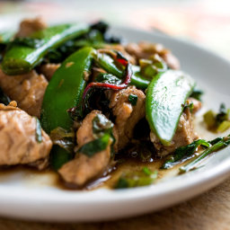 Stir-Fried Turkey Breast With Snap or Snow Peas and Chard