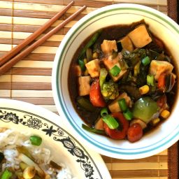 Stir Fry paneer and veggies in teriyaki sauce