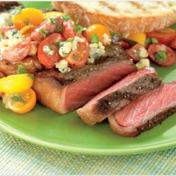 Strip Steaks with Tomato and Blue Cheese Vinaigrette