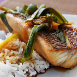 Striped Bass Poached In Spicy Soy Sauce