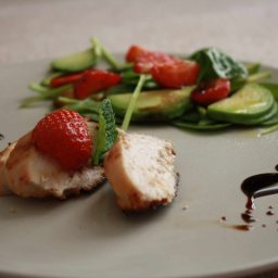 Succulent chicken marinated in strawberry yoghurt
