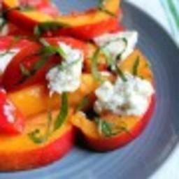 Summer Salad: Tomatoes, Peaches, Basil, and Burrata