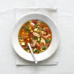 Summer Tomato Soup With Shrimp, Zucchini, and Corn