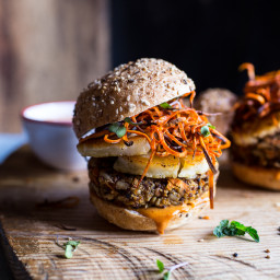 Sunflower Seed Veggie Burgers with Fried Halloumi + Curried Tahini Sauce.