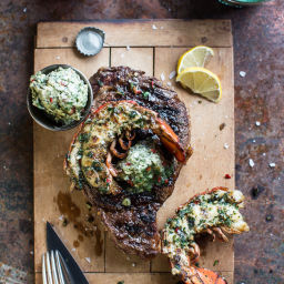 Surf and Turf: Steak and Lobster with Spicy Roasted Garlic Chimichurri Butt