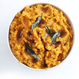 Sweet potato and orange mash with sage butter drizzle