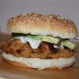 Sweet Potato Burger with Roasted Garlic Cream Sauce