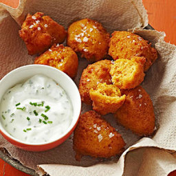 Sweet Potato Fritters with Yogurt Chive Dipping Sauce