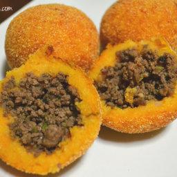 Sweet Potato Rellenos De Papa (Stuffed Sweet Potato Fritters)
