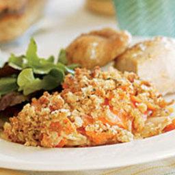 Sweet Potato-Russet Potato Gratin with Horseradish and a Dijon Crust