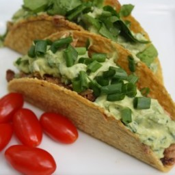 Sweet Pulled Pork Tacos with Avocado Cream Sauce