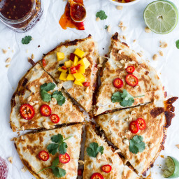 Sweet Thai Chili Salmon Quesadillas with Spicy Mango.