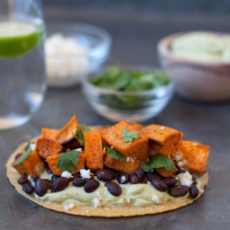 sweet potato tacos with avocado crema