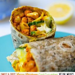 Sweet, Spicy, Curry Chickpea Cool Cucumber Wraps.