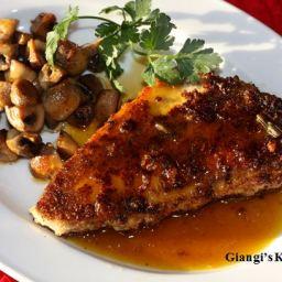 Swordfish with Orange Caramel Sauce