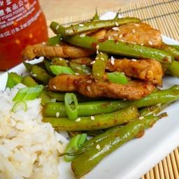szechuan pork  and  green beans