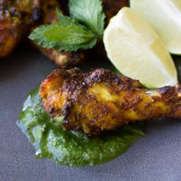 Tandoori Chicken Wings with Mint Chutney