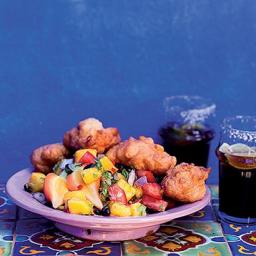 TasteMag: Corn Fritters with Mango Salsa