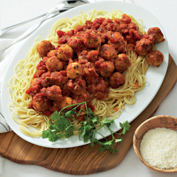 TasteMag: Spaghetti with chicken parmesan meatballs and red-pepper sauce