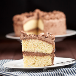 Tender Yellow Cake with Chocolate Whipped Cream Frosting