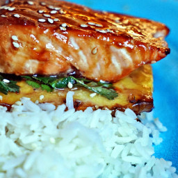 Teriyaki Glazed Grilled Salmon on Pineapple Planks