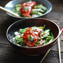Teriyaki Salmon Bowls with Snap Peas and Sriracha