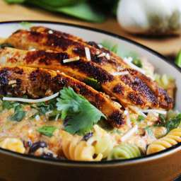 TexMex Creamy Roasted Red Pepper Pasta with Blackened Chipotle Chicken, Bla