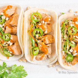 Thai Chicken Tacos {with Bean Sprout Slaw and Peanut Sauce}