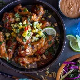 Thai Peanut Chicken Wings with Fiery Pineapple-Jalapeño Salsa.