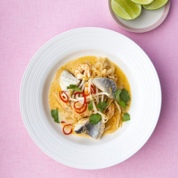 Thai spiced fish soup with beansprouts and chilli