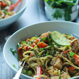 Thai Chicken Zucchini Noodles with Spicy Peanut Sauce
