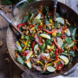 Thai Steak Salad w/Sweet + Spicy Tahini Dressing and Sesame Chili-Lime Cash