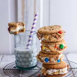 The Munchies Sweet Corn Ice Cream Sandwiches w/Peanut Butter Chip Cookies.