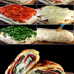 Three Cheese Broccoli Rabe, Prosciutto, and Roasted Red Pepper Stromboli