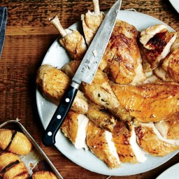 Thyme-and-Garlic Roast Chickens